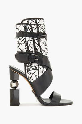 Balmain Laser-cut Smooth And Mirrored-leather Sandals