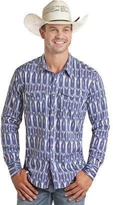 Rock and Roll Cowboy Long Sleeve Ikat Print Snap Shirt B2S4061 (Blue) Men's Clothing