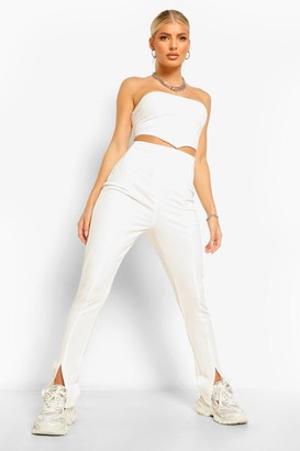 boohoo Split Hem Skinny Trousers