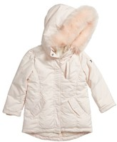 Armani Junior Girl's Hooded Coat With Faux Fur Trim