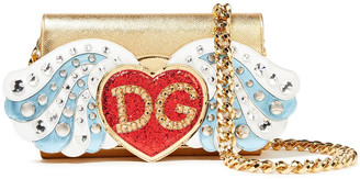 Dolce & Gabbana Embellished Metallic Textured-leather Shoulder Bag