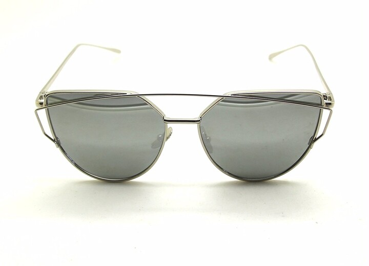 Thumbnail for your product : Boolavard Fashion Women Cat Eyes Sunglasses Classic Brands Designer Twin Beams Sunglasses Lady Coating Mirror Flat Panel Lens