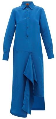 Colville - Draped-panel Technical-satin Dress - Womens - Blue