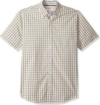 Amazon Essentials Regular-Fit Short-Sleeve Plaid Shirt White/Blue) X-Small