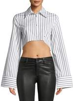 Off-White Button-Front Striped Cropped Shirt