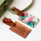 Create Gift Love Personalised Wood Acrylic Geometric Luggage Tag