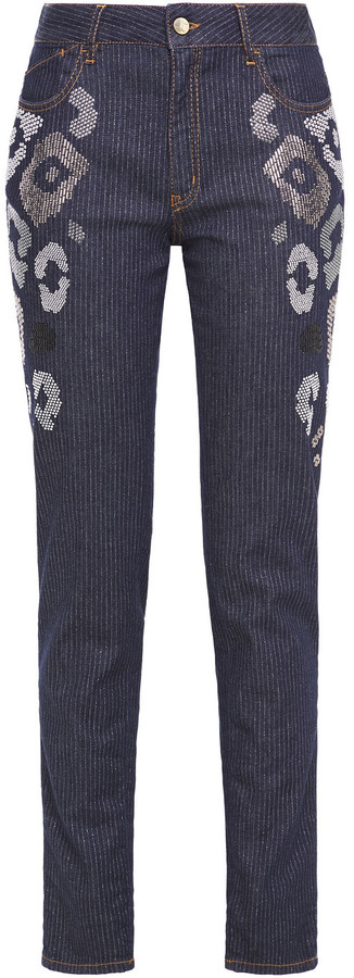 Thumbnail for your product : Just Cavalli Embellished Pinstriped Mid-rise Slim-leg Jeans