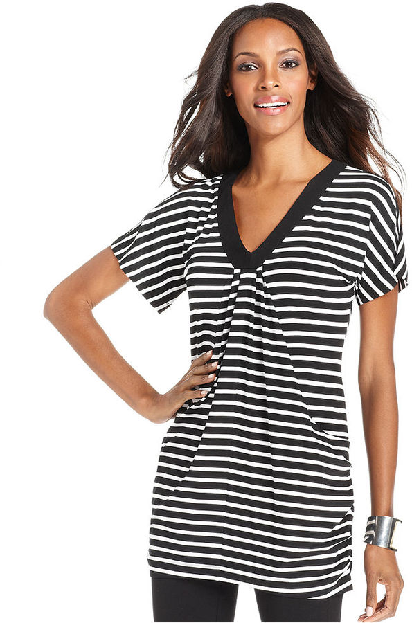 INC International Concepts Top, Short-Sleeve Striped Tunic