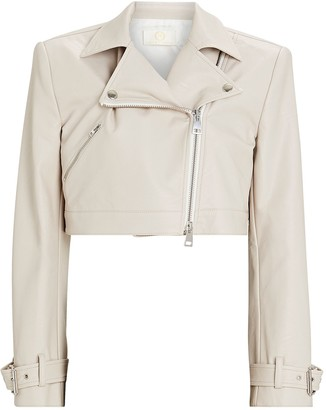 Sara Battaglia Cropped Vegan Leather Moto Jacket
