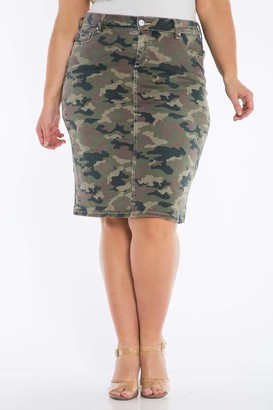 SLINK Jeans The Skirt- Army Camo Skirt Size 20