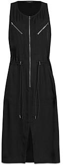 AllSaints Vola Zippered Drawstring Waist Dress