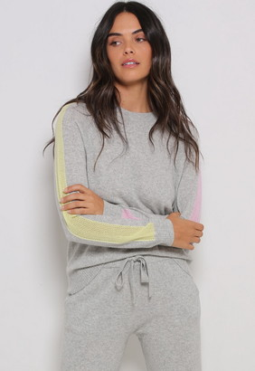 Singer22 CASHMERE LONG SLEEVE CREW WITH MESH SLEEVE STRIPE