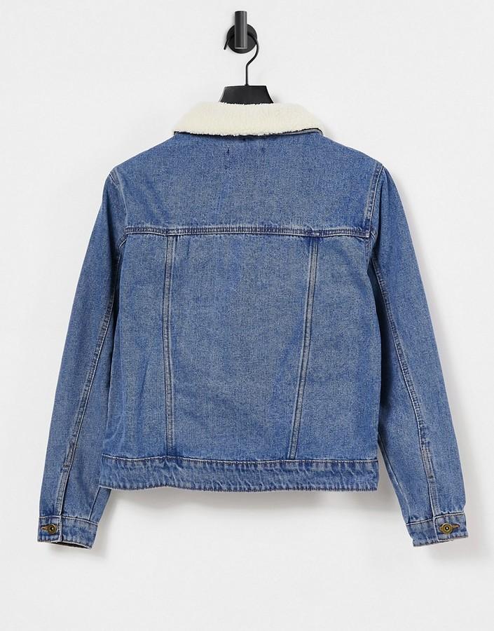 Thumbnail for your product : Brave Soul Larson borg collar denim jacket