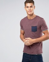 Esprit T-shirt with Crew Neck and Contrast Pocket