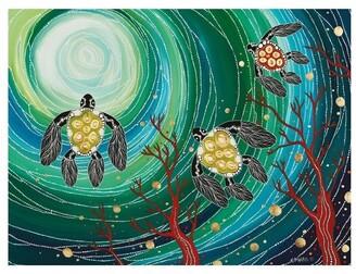 Maxwell & Williams Melanie Hava Jugaig-Bana-Wabu Tea Towel 50x70cm Turtles