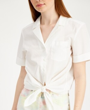 Thumbnail for your product : French Connection Rhodes Cotton Tie-Front Blouse