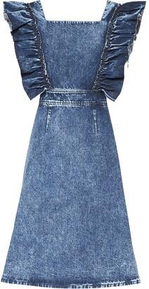 Miu Miu Ruffled Sleeve Denim Dress