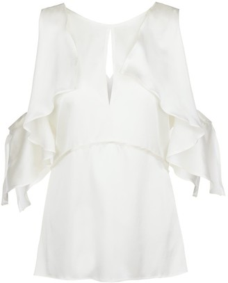Modallica Venus White Cold Shoulder Gots Certified Peace Silk Top