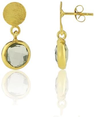 Auree Jewellery Salina Gold Vermeil Disc & Green Amethyst Earrings
