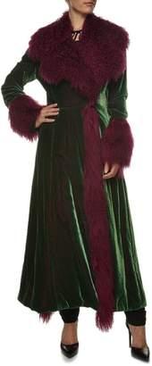 Norma Kamali Green/Purple Velvet Mongolian Coat