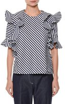 MSGM Short-Sleeve Striped Ruffle-Trim Poplin Top, White/Blue