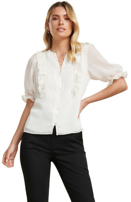 Forever New Maya Textured Check Ruffle Blouse