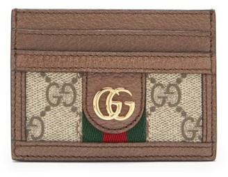 Gucci Ophidia Gg Plaque Leather Cardholder - Grey Multi