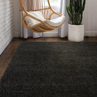 "Wayfair Basics™ Shag Charcoal Area Rug Rug Size: Rectangle 8'10"" x 11'11"""