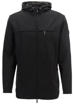 HUGO BOSS Hooded Zip Through Sweatshirt In Two Way Stretch Fabric - Black