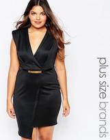 AX Paris Plus Wrap Front Pencil Dress