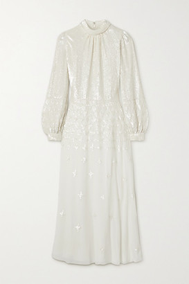 Temperley London Mirella Sequin-embellished Crepe De Chine Midi Dress - Off-white
