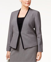 Nine West Plus Size Contrast-Trim Kiss-Front Blazer
