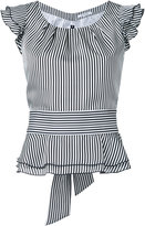 GUILD PRIME striped frilled cap sleeve blouse