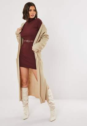 Missguided Stone Lightweight Knitted Maxi Cardigan