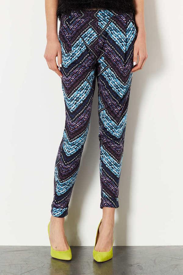 Topshop Chevron Print Jersey Trousers