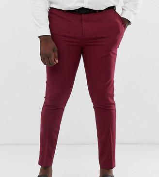 ASOS DESIGN Plus super skinny tuxedo suit trousers in burgundy