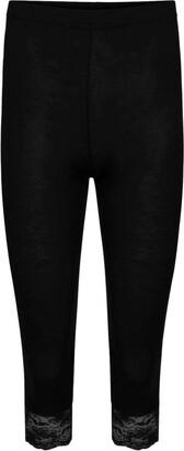 janisramone Womens Ladies New Lace Trim Plain 3/4 Length Leggings Gym Stretch Capri Cropped Jogging Pants Teal