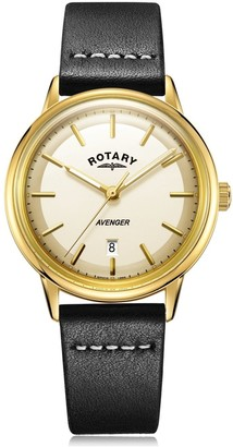 Gents Rotary Watches Gold Avenger Quartz Watch With A Black Leather Strap