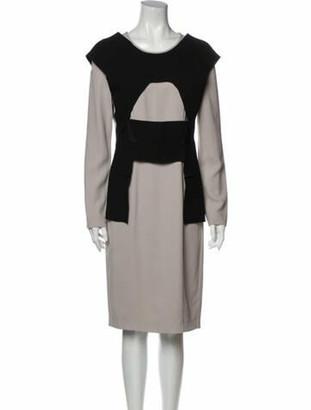 Roland Mouret Colorblock Pattern Knee-Length Dress Black