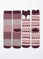 Purple Fox 2 pair Slipper Socks