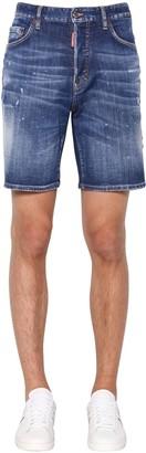 DSQUARED2 36cm Boxer Fit Cotton Denim Shorts