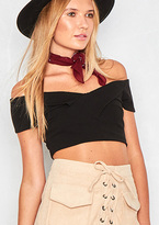 Missy Empire Callie Black Off The Shoulder Crop Top