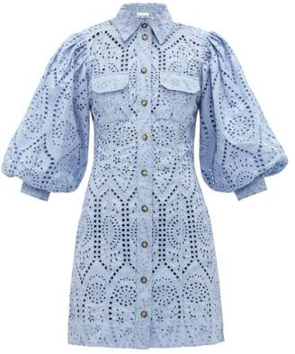 Ganni Balloon-sleeve Broderie Anglaise Mini Shirt Dress - Womens - Light Blue
