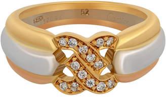 Cartier Estate 18K Tricolor C-Diamond Ring, Size 6