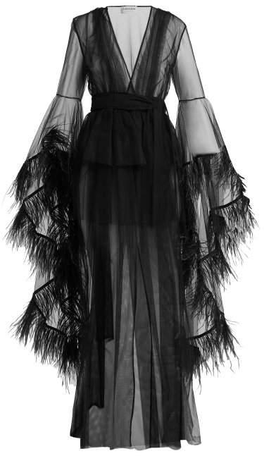 Osman Evangeline ostrich-feather trimmed evening coat
