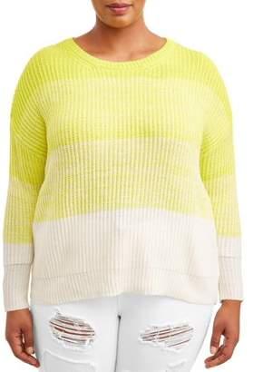 No Comment Juniors' Plus Size Neon Ombre Drop Shoulder Sweater