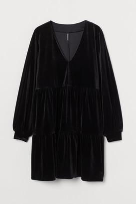 H&M V-neck Velour Dress