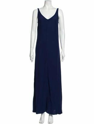 STAUD V-Neck Long Dress Blue