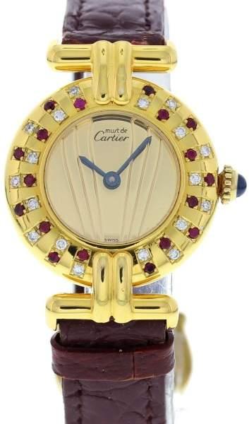 Cartier Must de 590002 Vermeil Argent & Leather with Diamonds & Rubies Quartz 24 mm Womens Watch