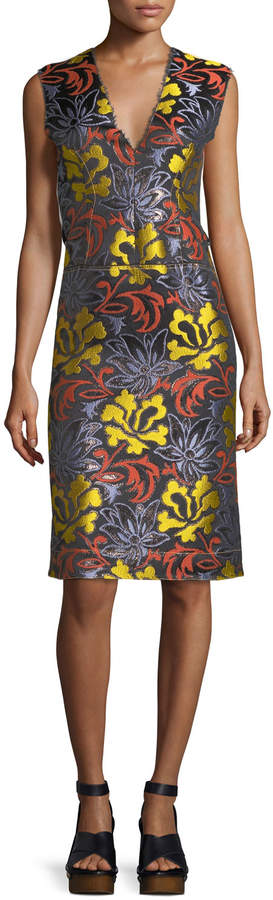 Derek Lam Sleeveless Floral-Embroidered Sheath Dress